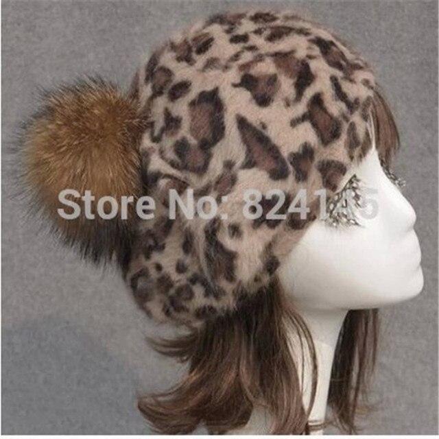 Haps Women Autumn And Winter Raccoon Fur Ball Caps Rabbit Women Skullies Beanies Leopard Beanie