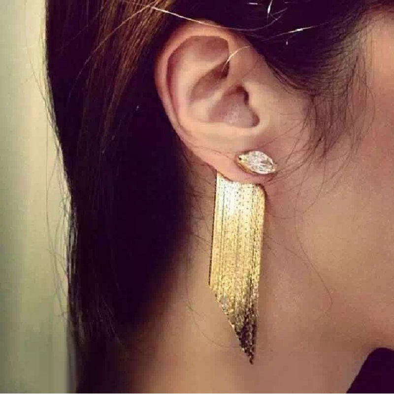 Statement tassel long earrings for women bijoux 2017 trendy fashion party jewelry wholesale gold-color cute gift