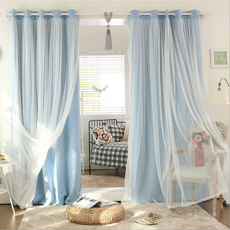 New arrival elegant pure color double layer window for Hotel drapes for sale
