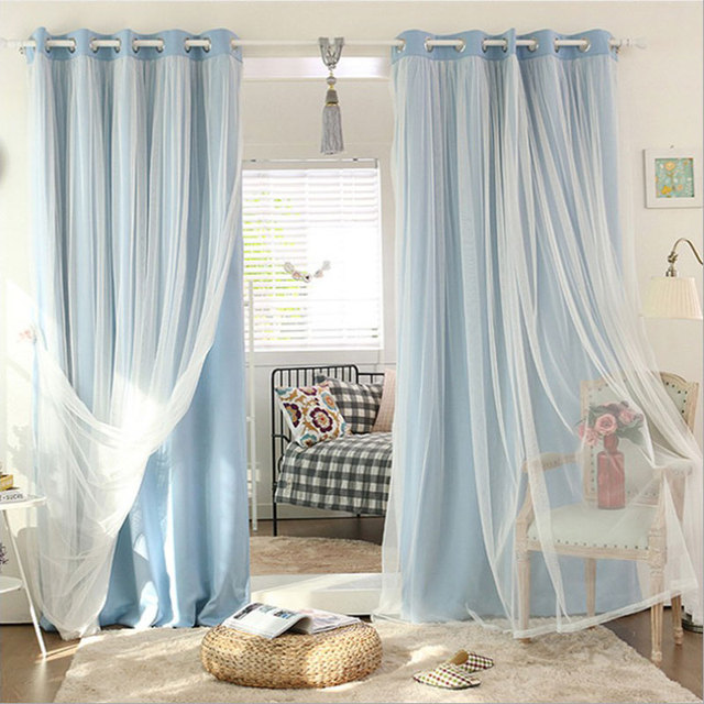 New Arrival Elegant Pure Color Double Layer Window Blackout Curtain For Living  Room Villa Hotel Curtains