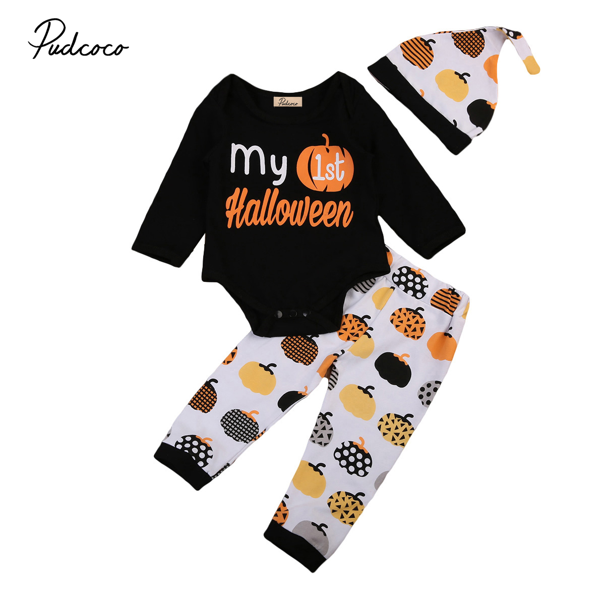 US 3PCS Toddler Baby Boy Girl Long Sleeve Autumn Clothes Romper Pants Cap Outfit