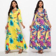 S-XL women fashion v neck long sleeve winter autumn dress night evening party club dress long floral print maxi dress цена в Москве и Питере
