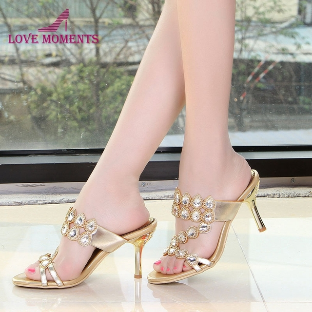 59b855f65f1c4 Summer Rhinestone Slippers Gold Pink Wedding Party Shoes Fashion Women High Heel  Sandals Sparkling Prom Shoes Plus size 41-44