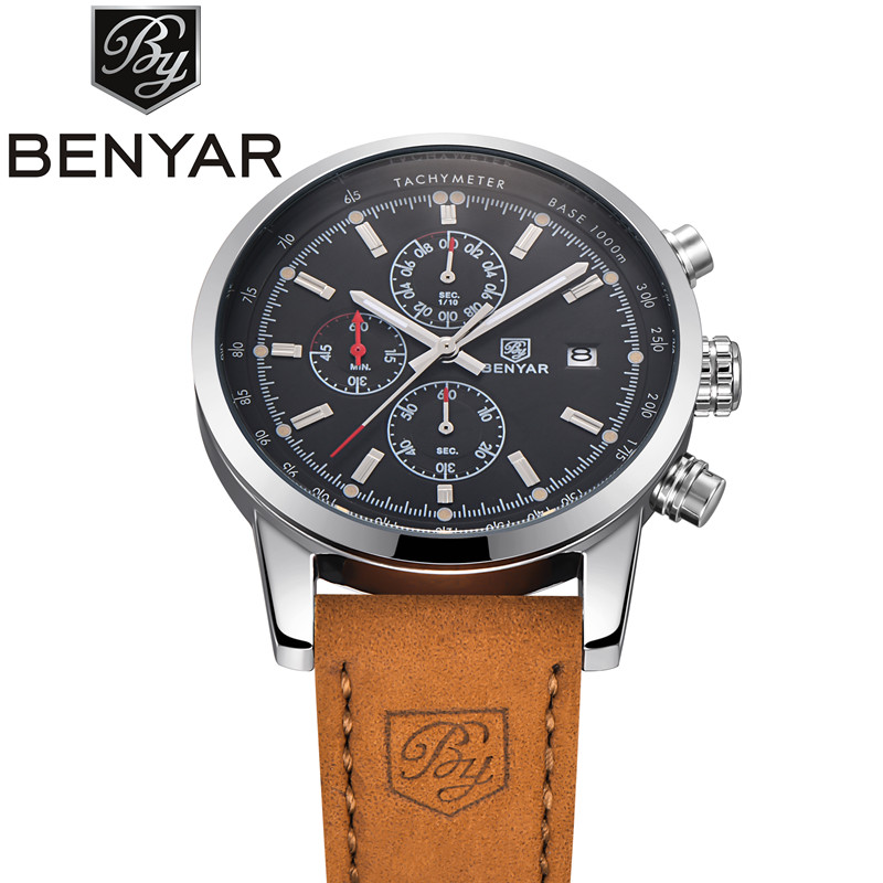 BENYAR Men Luxury Watch - 43MM - Leather Strap - 2018 collection 1