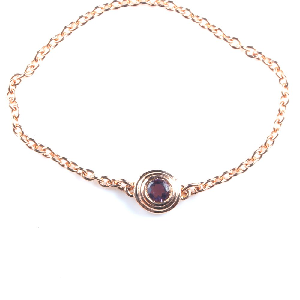 Solid 18k Rose Gold Natural Amethyst Women Engagement Ring Chain Women Wedding Band Fine JewelrySolid 18k Rose Gold Natural Amethyst Women Engagement Ring Chain Women Wedding Band Fine Jewelry