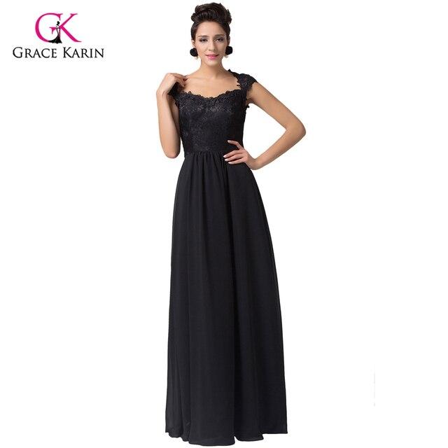 2018 Elegant long black Prom dresses Grace Karin Square Neckline cap ...