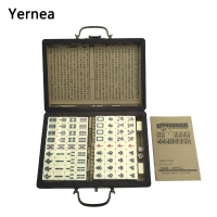 Yernea Mini Chinese Toy Antique Mahjong Games Entertainment With English Instruction Four Wind Board Game Wooden Box Majiang