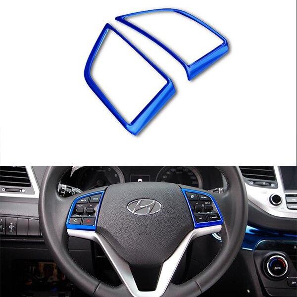 Matériel En Acier inoxydable Volant Couverture Bouton Couverture Pour Hyundai Tucson 2015 2016 2017 2018 Accessoires