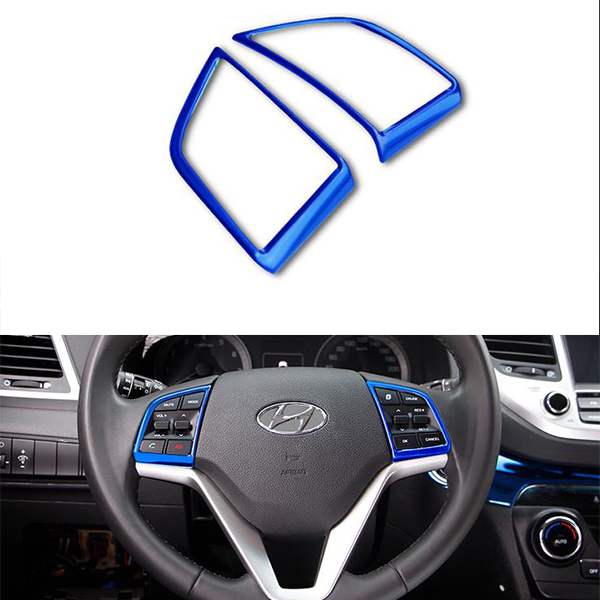 Stainless Steel Material Steering Wheel Cover Button Cover For Hyundai Tucson 2015 2016 2017 2018 Accessories