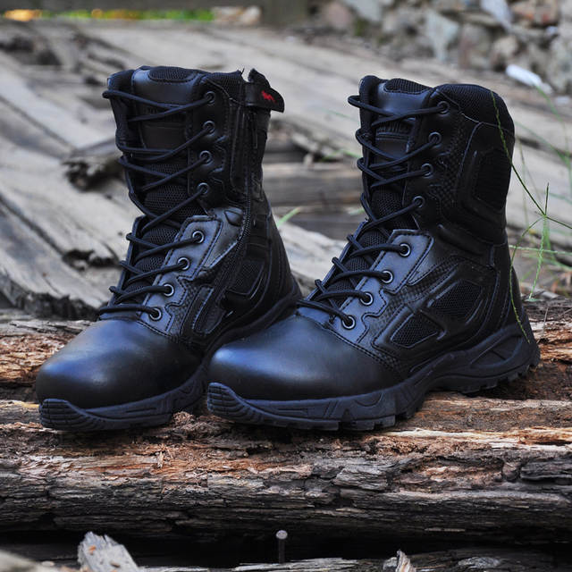 3698dfa104b US $37.79 57% OFF|Mens Military Army Boot Genuine Leather Vintage Lace Up  Waterproof Safety Shoes Black Desert Combat Tactical Ankle Boots Men on ...