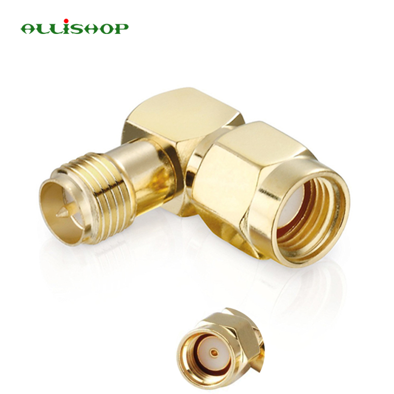 RP SMA Brass Adapter RP SMA Male Jack To RP SMA Female Jack Screw Thread Connector 90 Degrees Right Angle RF SMA Adapter RP SMA Brass Adapter RP SMA Male Jack To RP SMA Female Jack Screw Thread Connector 90 Degrees Right Angle RF SMA Adapter
