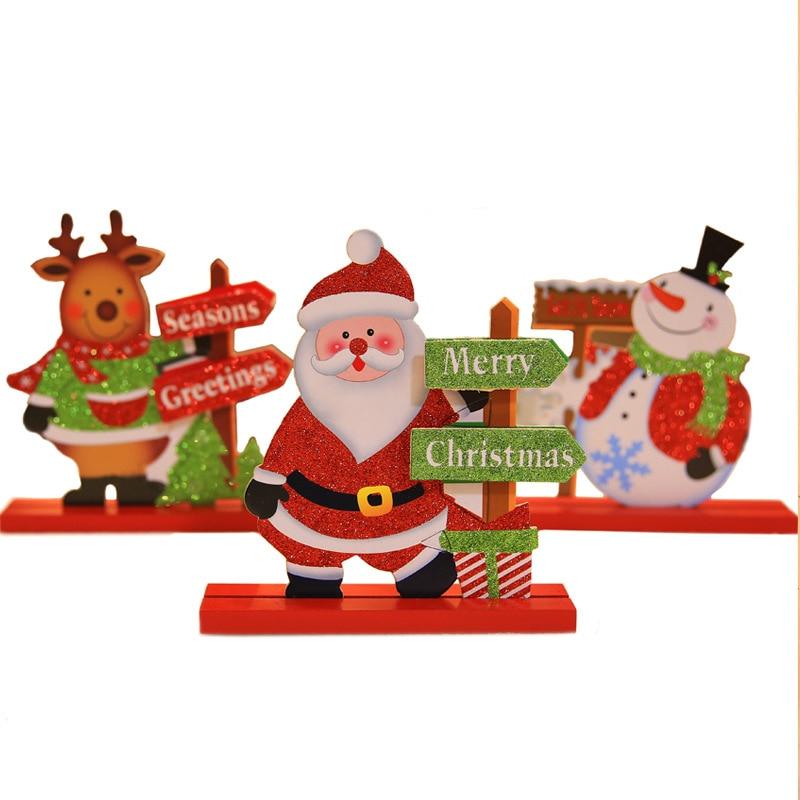 Santa Claus Snowman Elk Wooden Desk Decor for Home Christmas Ornaments New Year Christmas Winter Decoration Supplies P20