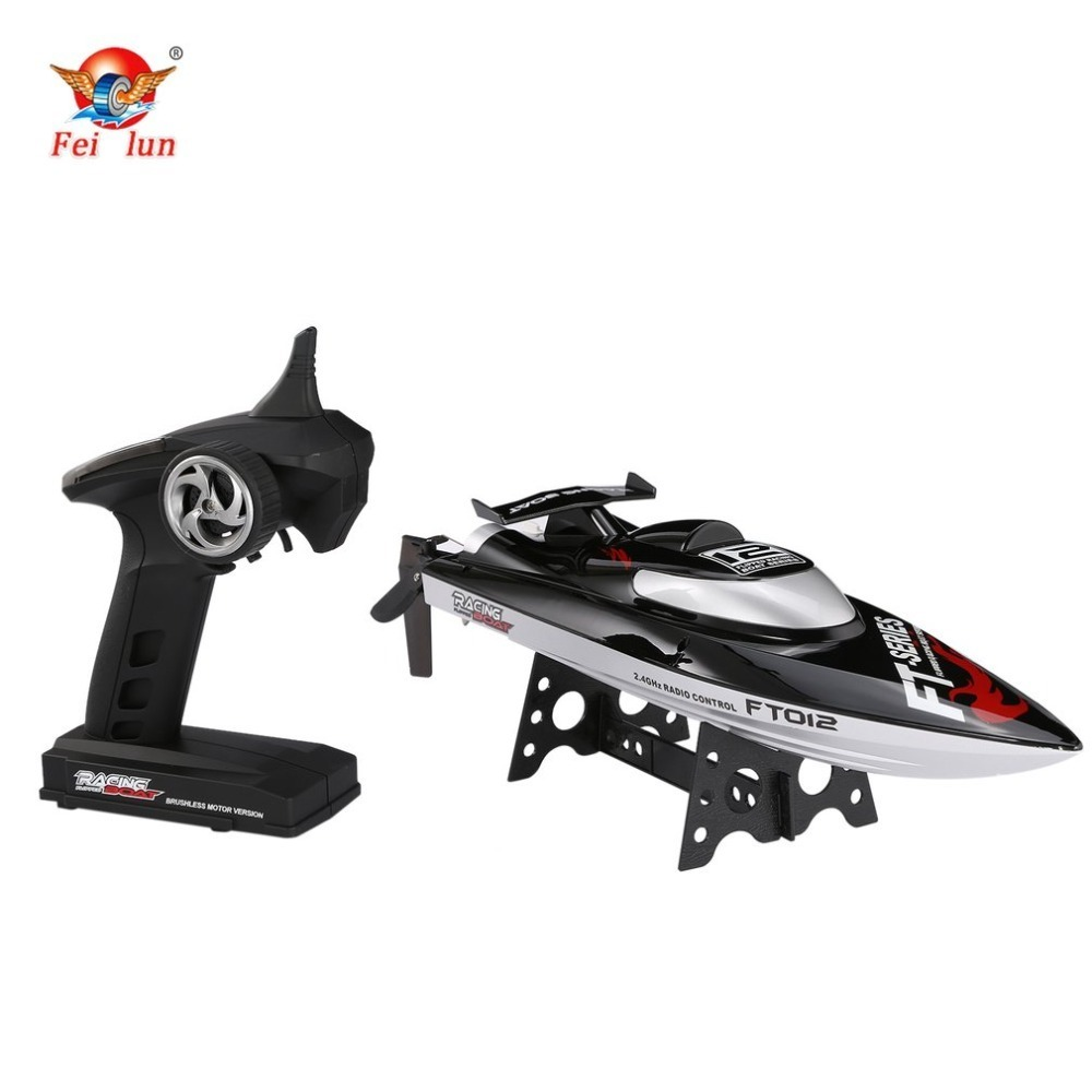 Feilun FT012 2.4G RC Boat 45km/h High Speed Racing Boat Speedboat Ship with Brushless Motor Water Cooling System Flipped RTR h625 pnp spike fiber glass electric racing speed boat deep vee rc boat w 3350kv brushless motor 90a esc servo green
