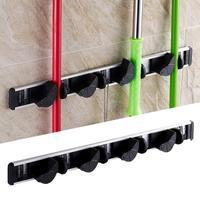 4pcs Kitchen Storage Organizer Mop and Broom Holder Wall Mounted Garden Storage Rack 5 Position with 6 Hooks Garage Hold 17dec19