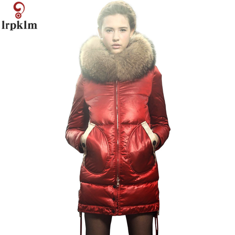 Women Winter   Down   Jacket Long Thick   Coat   Real Fur Collar Padded   Down     Coats   Women Bright Outwear Jackts Zipper Pocket As018