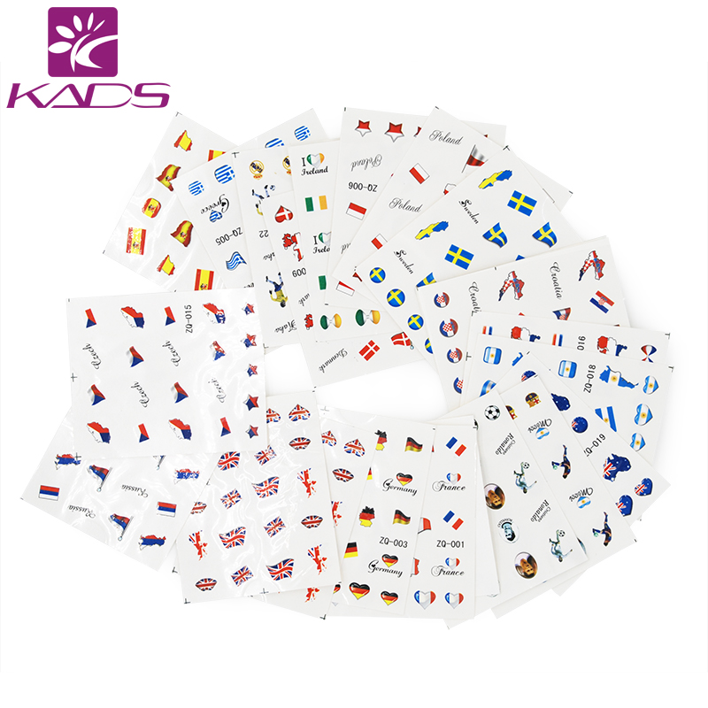 KADS Must Have!!  50pcs/set Nail Transfer Decals National Flag Design Nail Art Water Stickers Beauty Nail Decorations Tool 1pcs water nail art transfer nail sticker water decals beauty flowers nail design manicure stickers for nails decorations tools