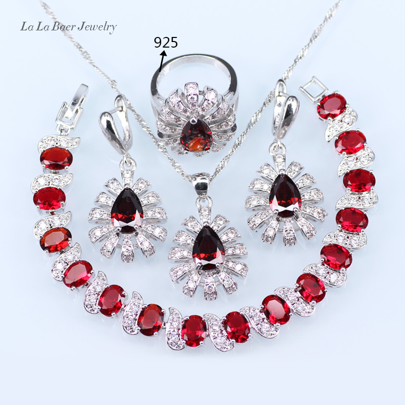 L&B Red created Garnet White Zircon Silver color Jewelry Sets For Women water drop Bracelet/Ring/Earrings/Pendant/Necklace