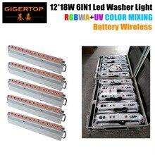 TIPTOP Flight Case Packing with Wheels 5XLOT 12*18W RGBWA UV 6IN1 White Housing Battery Wireless Led Wall Washer Light 90v-240v