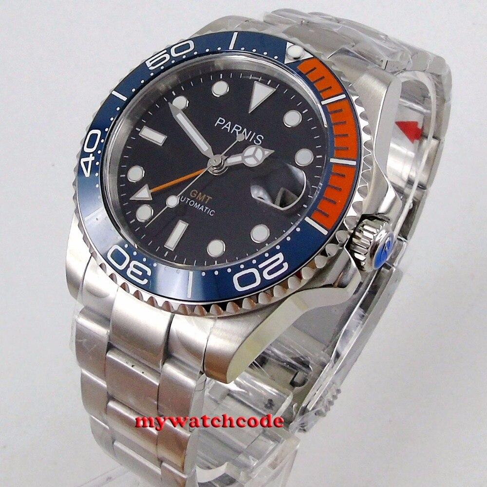 40mm parnis Black dial sapphire glass blue orange bezel automatic folding buckle mens watch