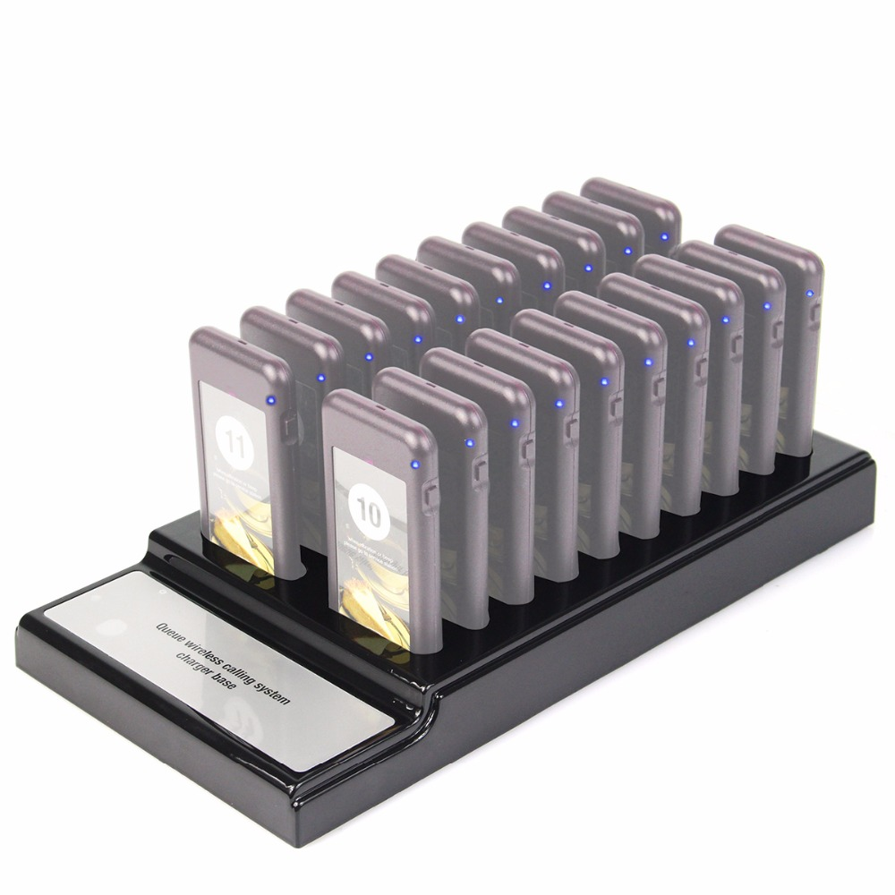 20 Pager Slots Charger Base For Restaurant Wireless Paging Queuing System 999 Channel Coaster Pagers Catering Accessories F4453A 1 transmitter 20 coaster pagers chargeable restaurant pager wireless paging queuing system restaurant equipments f4475