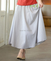 Free Shipping Blend Linen Long Skirt Spring Summer Skirts Chinese Style Bohemian Grey Skirts Casual Bandage