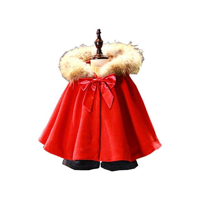 Малыша Девушки Пальто Новое Прибытие Winetr Милый Ребенок Красный Рукав Летучая Мышь С Капюшоном Шерстяное Пальто Мода Толстые Бантом Кардиган 2-8Years