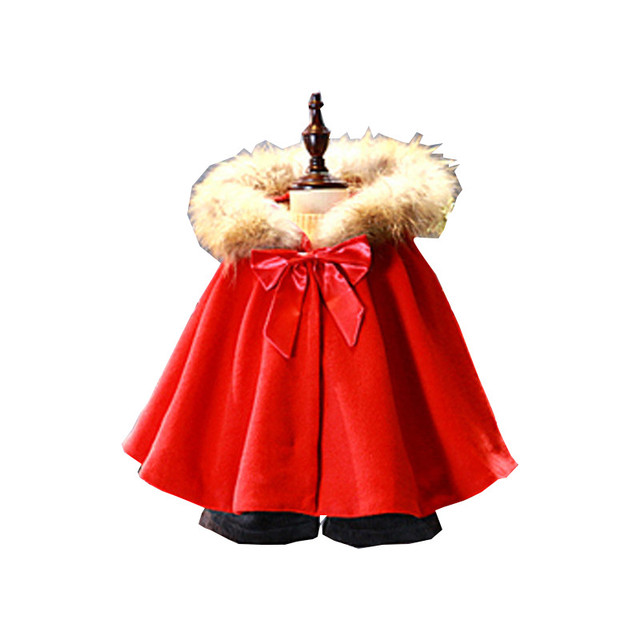 Toddler Girls Trench Coat New Arrival Winetr Cute Baby Red Bat Sleeve Hooded Wool Coat Fashion Thick Bowknot Cardigan 2-8Years