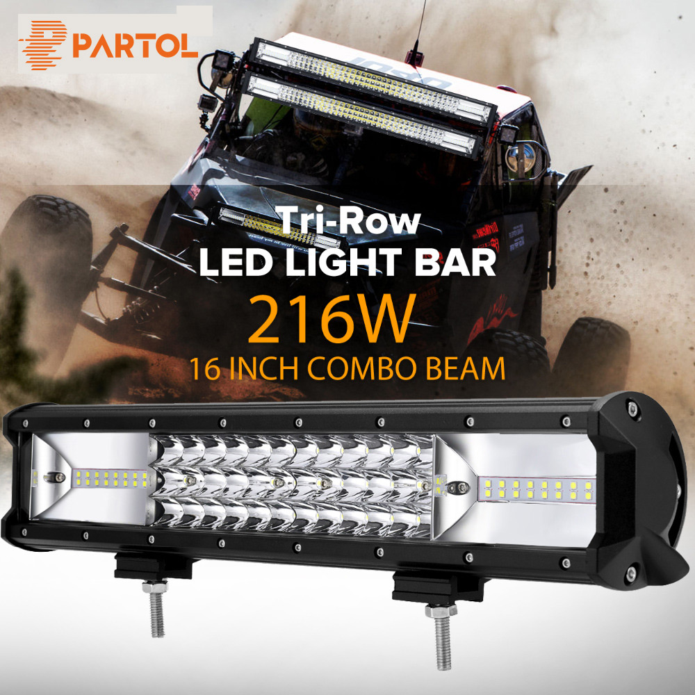 "Partol 16"" 216W Tri-offer LED Light Bar Combo Spot Flood Beam Offroad Work Light 4WD 4x4 LED Bar 6000K for Truck Camper Trailer"