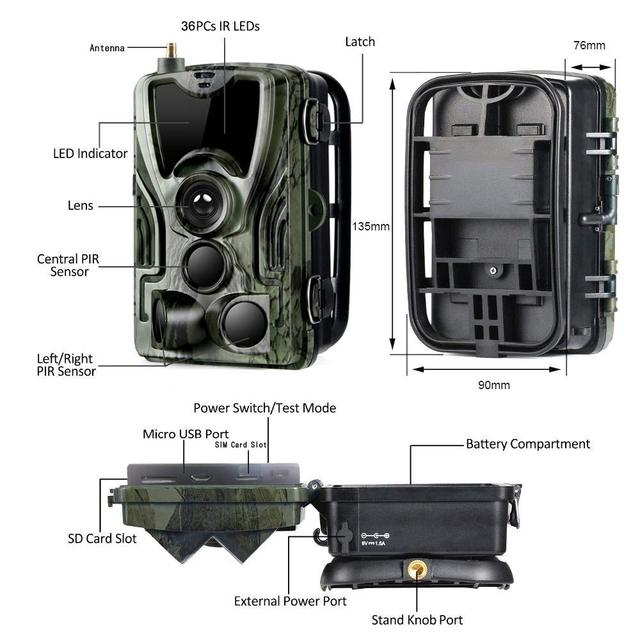 2G MMS SMS  SMTP Trail Wildlife Camera 20MP 1080P Night Vision Cellular Mobile Hunting Cameras HC801M Wireless Photo Trap 2