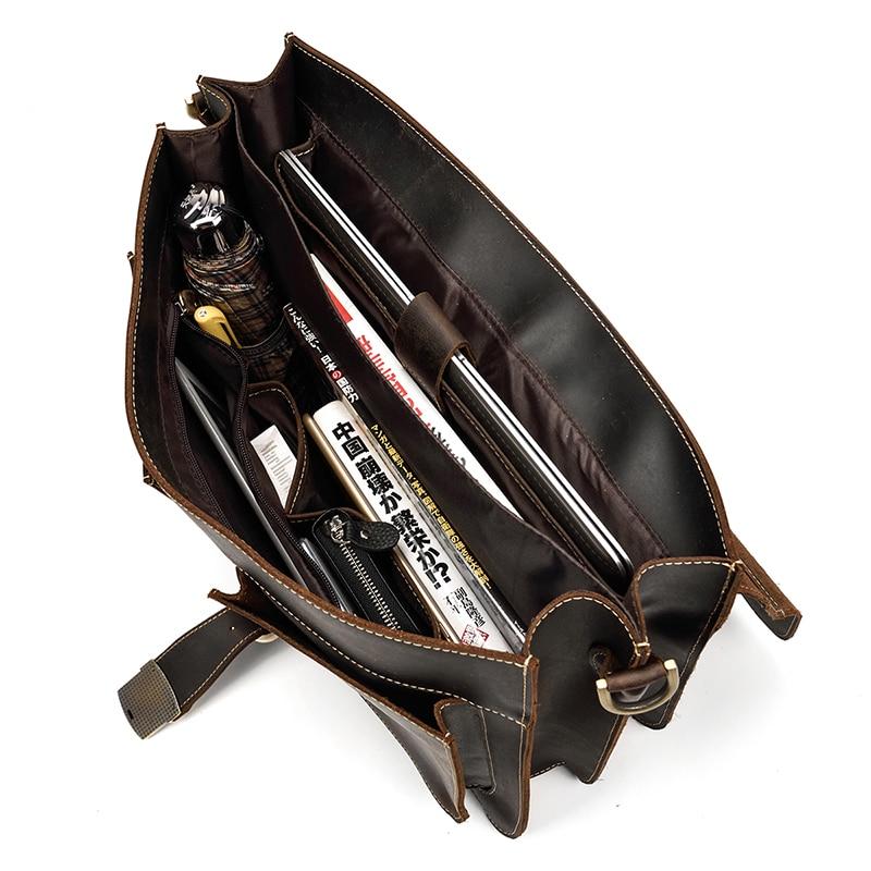 """HTB1QAwlh4TpK1RjSZR0q6zEwXXaQ Vintage Men's Genuine Leather briefcase 16"""" Cowhide Business bag Cow leather Laptop Double Layer messenger bag PC work tote"""