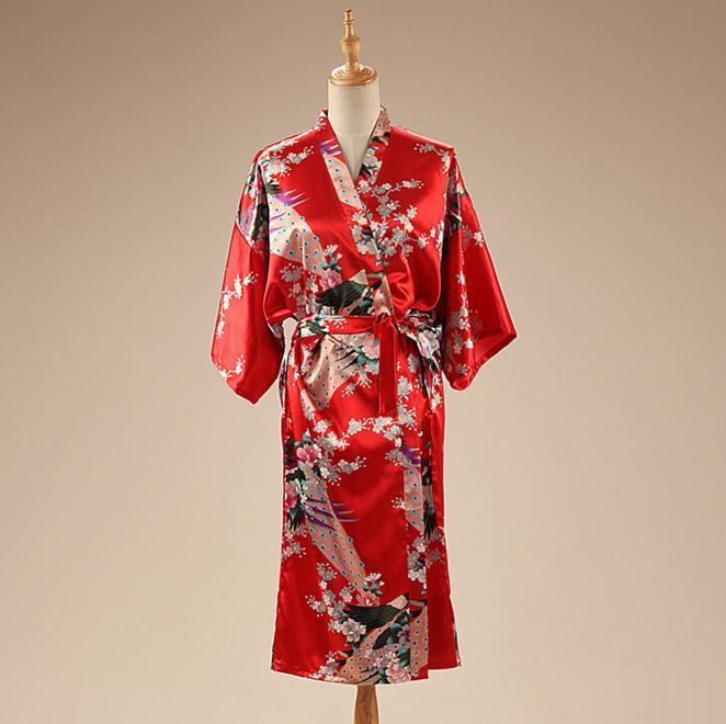 Red Peacock&Flower Kimono Bath Gown Chinese Womens Satin Rayon Nightgown Summer Casual Sexy Sleepwear Pajamas One Size WR072