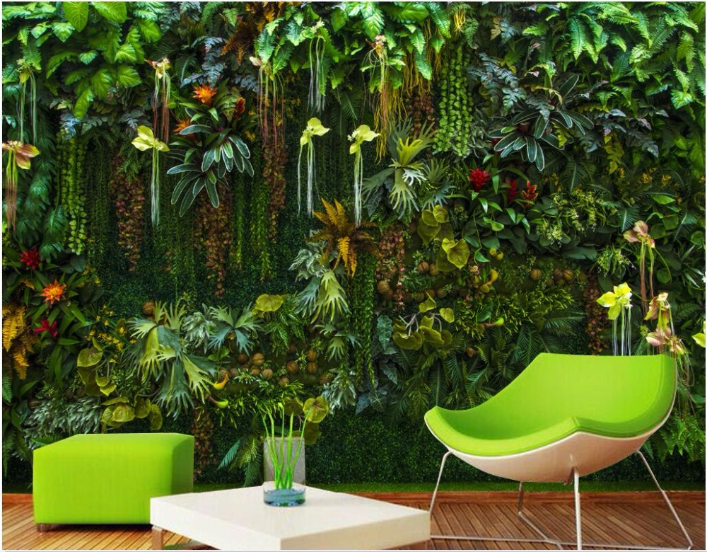 Custom mural 3d wallpaper rainforest flowers plant leaves living room home decor painting 3d wall murals wallpaper for walls 3 d