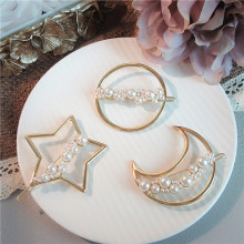 Korea Fashion Simple Geometric Starry Star Moon Hairpins Girl Women Temperament Imitation Pearl Hair Rope Headwear