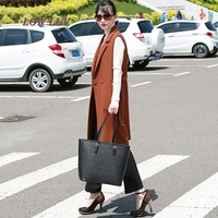 S M L XL XXL New Spring Korean Sleeveless Thin Jackets And Long Vest Female Suit