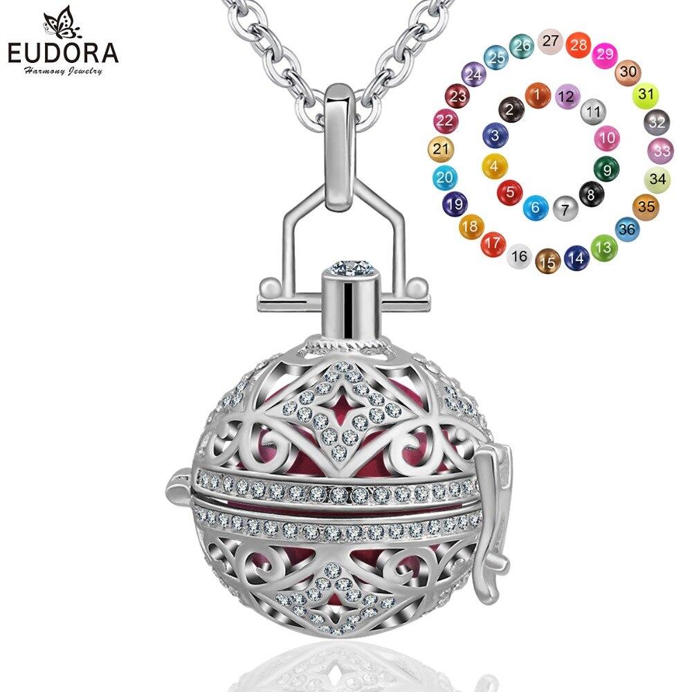 Eudora de plata Chapado en cobre Harmony Bola de cristal medallón jaula colgante 20 mm Chime Ball Collar para mujeres embarazo K111N20