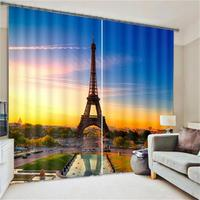 Modern Designs 3D City Scenery Curtains Home Sun Shade Drapes French Eiffel Tower London Print Blackout Curtains for Living Room
