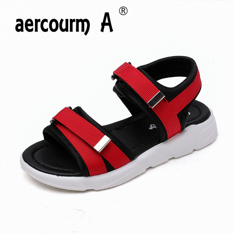 Aercourm A Children Flat Sandals 2018 Summer New Boys Girls Red Green Black Beach Shoes baby Children Sports Casual Sandals