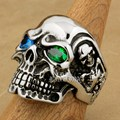 LINSION Huge Heavy 316L Stainless Steel Blue Green CZ Eyes Titan Skull Mens Boys Biker Rock Punk Ring 3A501