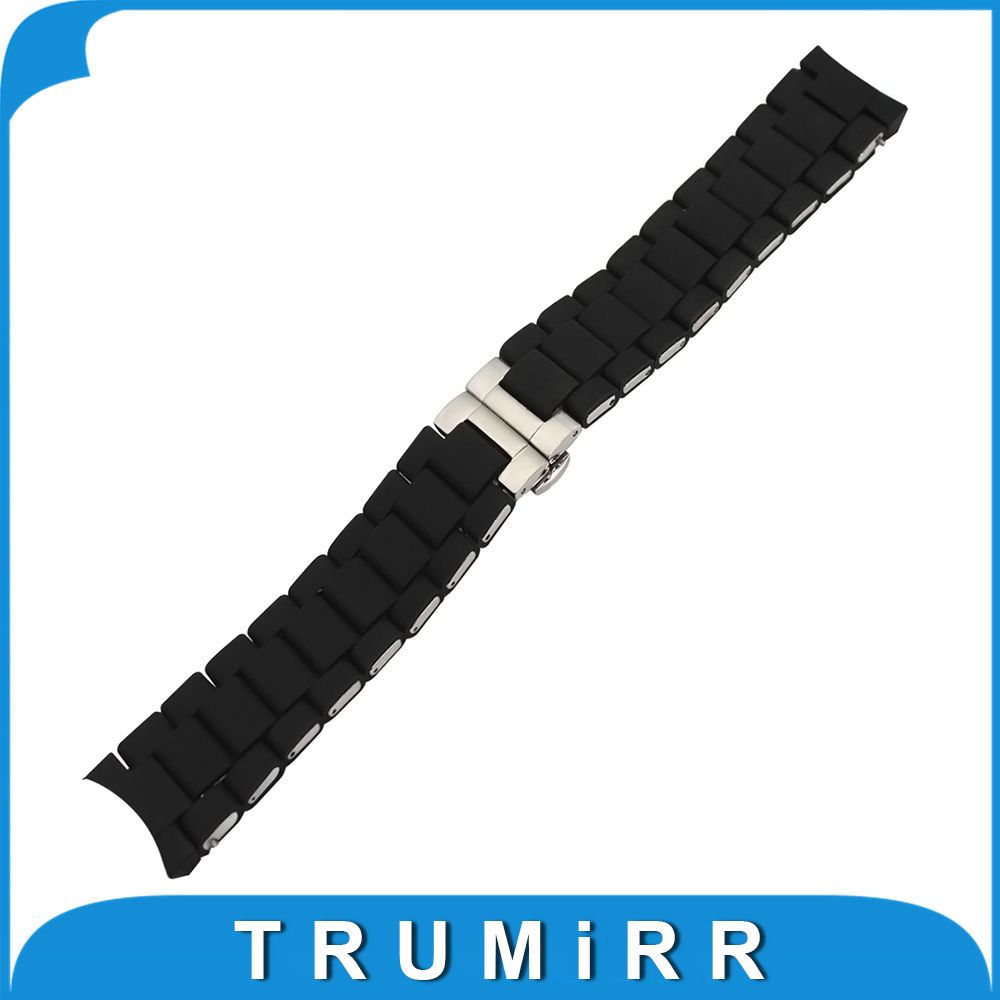 Silicone Rubber Watchband 20mm 23mm for AR5858 AR5868 AR5905 AR5906 Men Women Watch Band Steel Buckle Bracelet Wrist Strap Black liaopijiang bao gangshi used ar5890 ar5905 ar5906 stainless steel strip rubber fashion 20 23mm