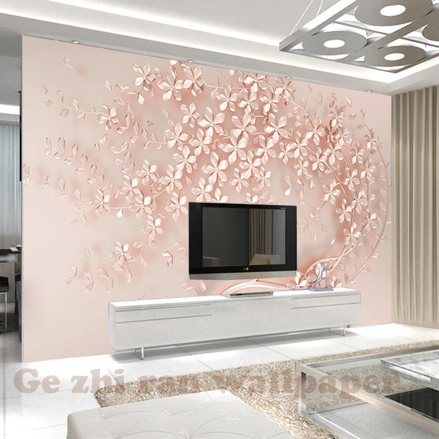 Custom 3D Mural WallPapers 3D stereoscopic Rose gold flowers luxurious Living Room Bedroom TV background Wallpaper