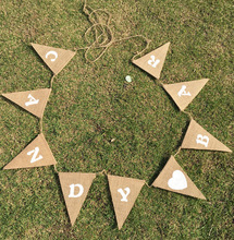 Love Heart Linen Banners Candy Bar Pulling Flag Color Hanging Flags For Birthday Wedding Party Accessories Decor Supplies