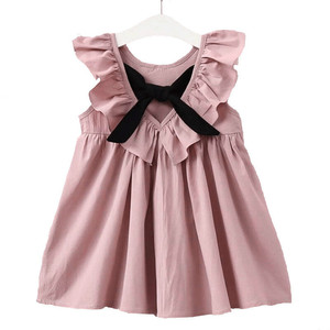 2019 Elegant Style Fashionable Flying Sleeves Women's Bow Tie Princess Party Dress Children's Clothes Girls Lovely Costumes(China)