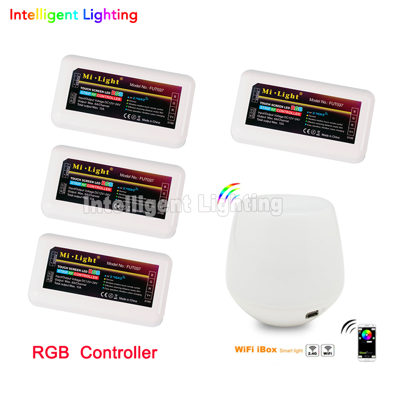 Free Shipping Mi Light  2.4G Touch WiFi Wireless  +4 x LED RGB Controller Dimmable For 5050 3528 RGB LED Strip Light free shipping 2 4g 4 zone groups 1x wifi 3 x led rgb controller wifi wireless mi light for 5050 3528 rgb led strip