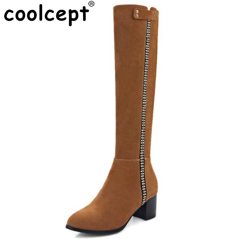 ФОТО Women Square Low Heel Knee Boots Woman Fashion Pointed Toe Botas Feminine Female Good Quality Zipper Footwear Shoes Size 34-43