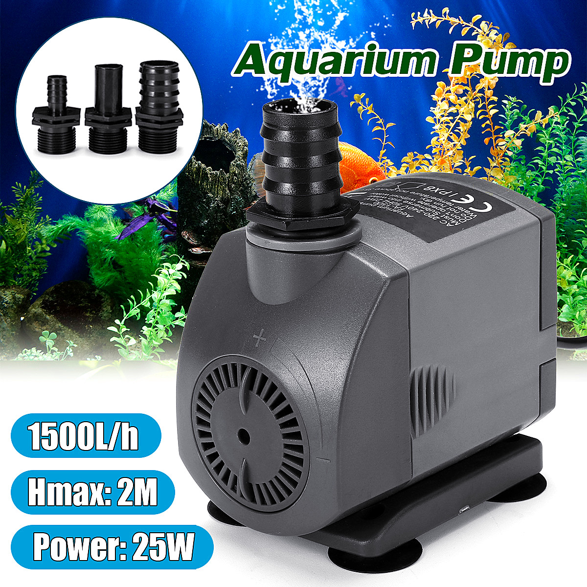 25W 1500L/h Submersible Ultra Quiet Water Pump for Waterfall Filter Fish Ponds 3 Nozzles 2M Power Cord Fish Tank Fountain Filter все цены