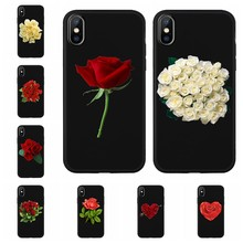 Funda de teléfono colorida brillante Rosa peonía flores celular negro para iPhone 8 7 6 6S Plus X XS funda trasera XR XS MAX Z651(China)
