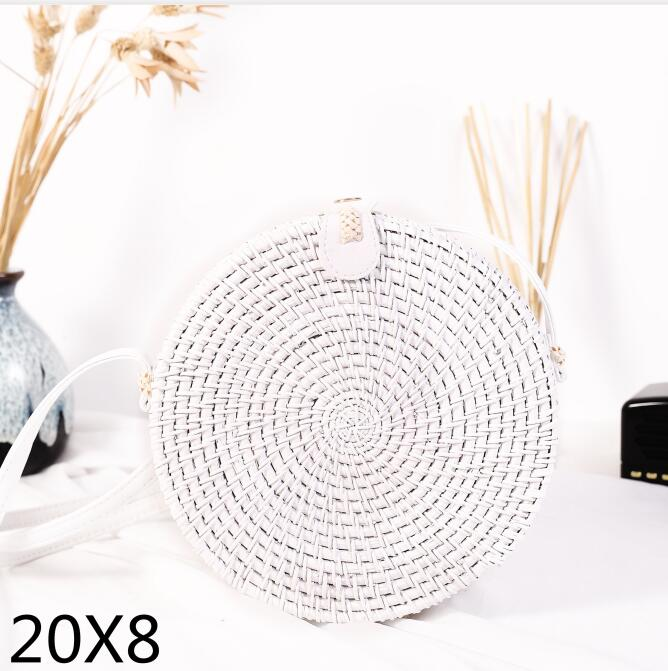 Woven Rattan Bag Round Straw Shoulder Bag Small Beach HandBags Women Summer Hollow Handmade Messenger Crossbody Bags 10
