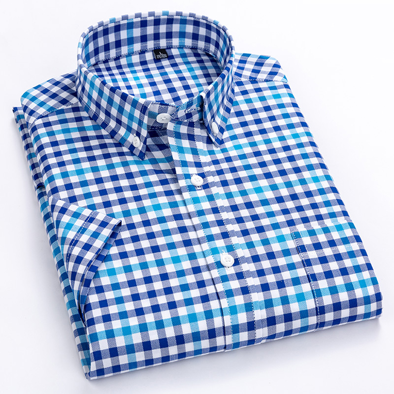 Men's Summer Casual Plaid Checkered Dress Shirts Single Front Pocket Comfortable Cotton Standard-fit Short Sleeve Gingham Shirt