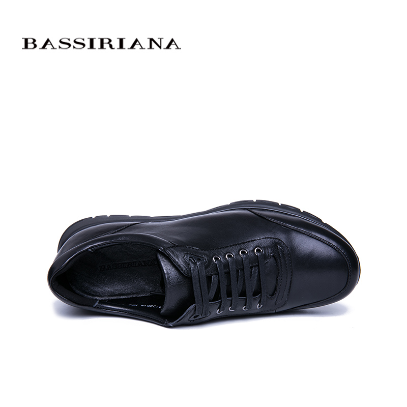 BASSIRIANA nowy męska trampki skóra naturalna koronka na wiosnę i jesień up czarny darmowa wysyłka w Męskie nieformalne buty od Buty na  Grupa 3