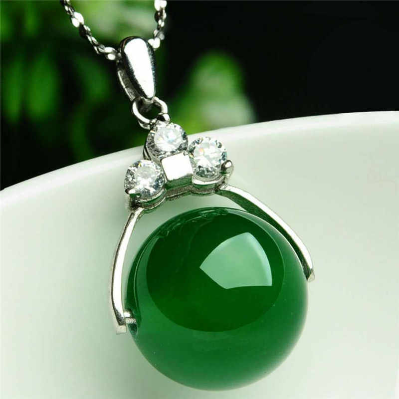 Natural Stones Red Green Agate Energy Pendants Round Beads Sterling Silver Necklece Onyx Quartz Crystal Jewelry Gift For Women
